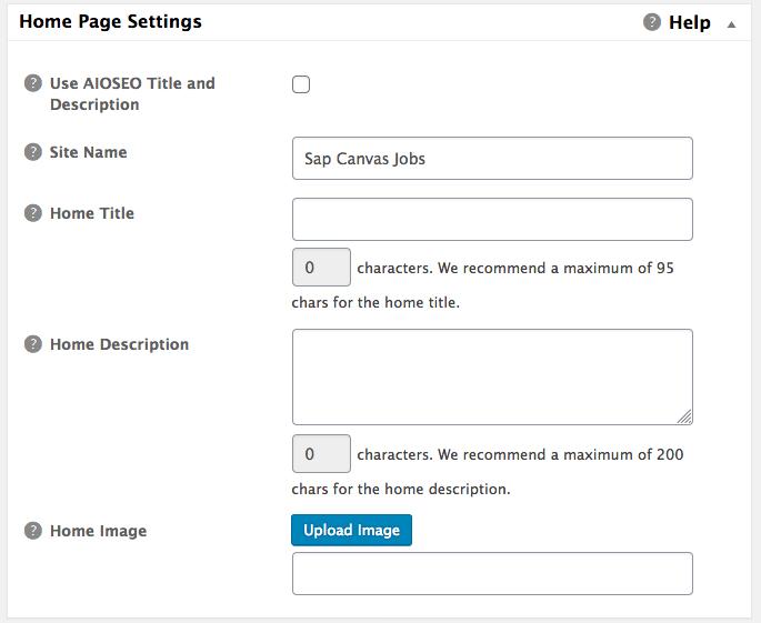 16 - Social Meta: Home Page Settings